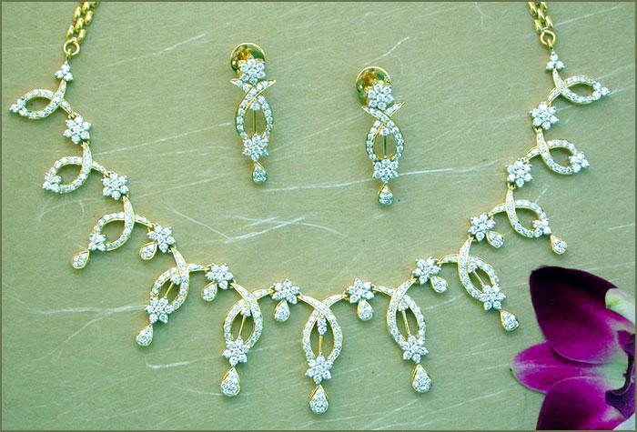 Diamond necklaces diamond jewellery diamond chain necklace price rs mozeypictures Choice Image